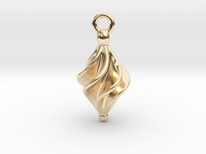 Rhomboidal Earring Twisted in 14K Yellow Gold