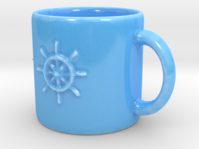 Steering Wheel Mug in Gloss Blue Porcelain