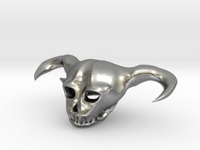 Demon Skull in Natural Silver