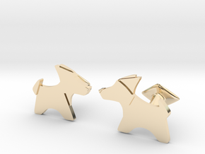 Origami Wet folded dog cufflink in 14k Gold Plated Brass