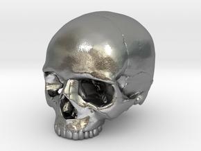 Skull    30mm width in Natural Silver