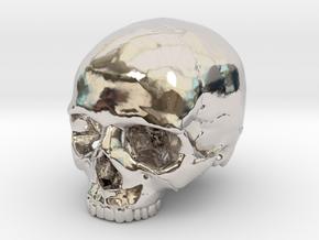 Skull    30mm width in Rhodium Plated Brass