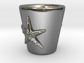 Starfish Shot Glass in Polished Silver