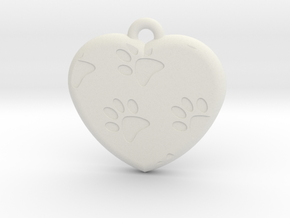 Pawprints On My Heart Pendant in White Natural Versatile Plastic