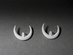 Moon Earrings in White Natural Versatile Plastic