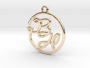 B & H Script Monogram Pendant in 14k Gold Plated Brass