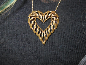 Rib Heart 1 in Natural Brass