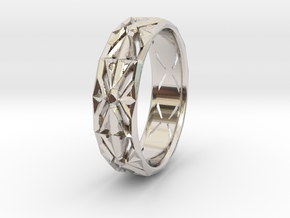 Cut Facets Ring Sz. 4.5 in Rhodium Plated Brass