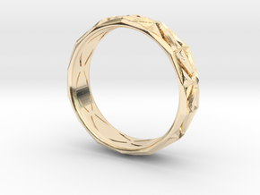 Cut Facets Ring Sz. 6 in 14k Gold Plated Brass