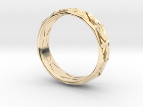 Cut Facets Ring Sz. 6.5 in 14k Gold Plated Brass