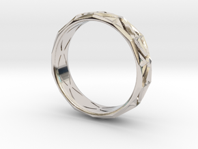 Cut Facets Ring Sz. 6.5 in Rhodium Plated Brass