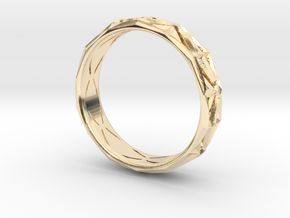 Cut Facets Ring Sz. 7.5 in 14k Gold Plated Brass