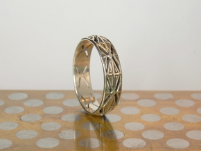 Cut Facets Ring Sz. 8.5 in Polished Silver