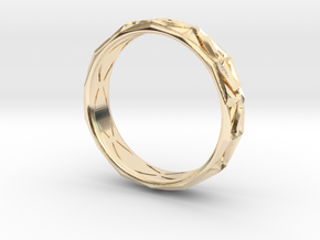 Cut Facets Ring Sz. 8.5 in 14k Gold Plated Brass