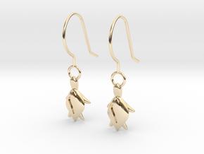 Turtle Heart Earrings in 14k Gold Plated Brass
