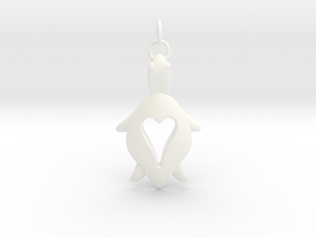 Holy Turtle Heart Pendant in White Processed Versatile Plastic