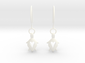 Holy Turtle Heart Earrings in White Processed Versatile Plastic