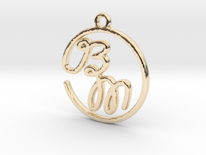 B & M Script Monogram Pendant in 14k Gold Plated Brass