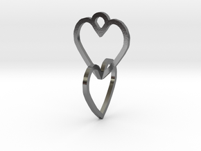 Connected heart of the ring in Polished Silver