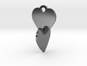 Heart to be connected in Polished Silver