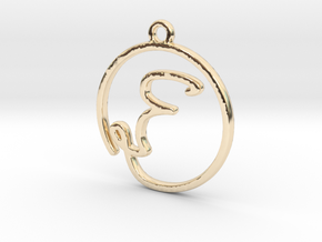 F Script Monogram Pendant in 14k Gold Plated Brass