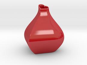 Heart + Sine Wave = Vase in Gloss Red Porcelain