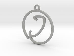 I Script Monogram Pendant in Raw Aluminum