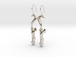 Squirrely Earrings in Rhodium Plated Brass