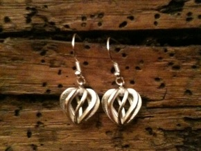 Heart Cage Earrings in Polished Silver