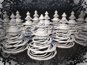 Swirly Christmas Tree in White Natural Versatile Plastic