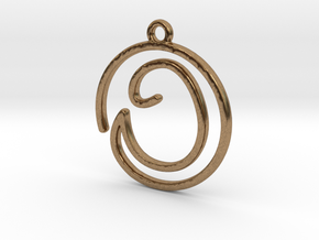 O Script Monogram Pendant in Raw Brass