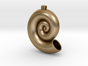 Nautilus Shell Pandant in Polished Gold Steel