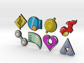 Pokemon Badges (Hoenn League) in Full Color Sandstone