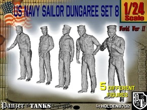 1/24 US Navy Sailor Set 8 in White Natural Versatile Plastic