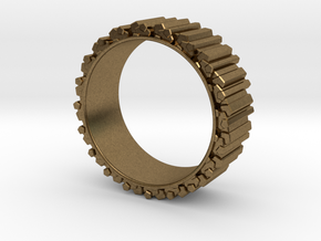 Crystal Ring - ring size ca 2 in Natural Bronze