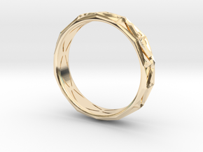 Cut Facets Ring Sz. 10 in 14k Gold Plated Brass