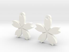Sakura (Cherry Blossom) Flower Earrings in White Processed Versatile Plastic