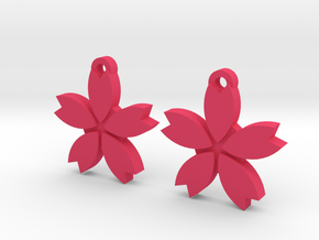Sakura (Cherry Blossom) Flower Earrings in Pink Processed Versatile Plastic