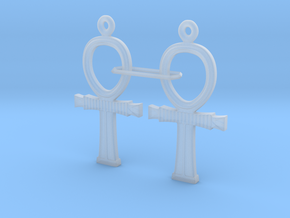 Ankh EarRings - Pair - Plastic in Smooth Fine Detail Plastic