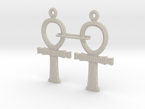 Ankh EarRings - Pair - Plastic in Natural Sandstone