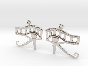 Eye Of Horus EarRings - Pair - Precious Metal in Rhodium Plated Brass