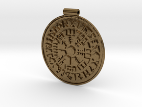Vegvisir Nordic magical stave pendant in Natural Bronze