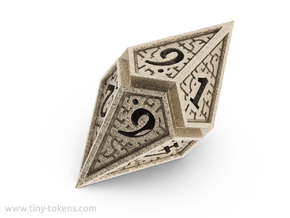 Hedron D10: Open (Hollow), balanced gaming die in Polished Bronzed Silver Steel