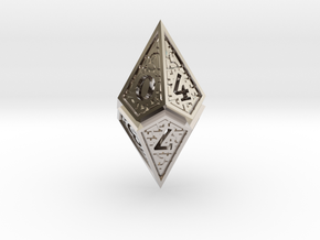 Hedron D10: Open (Hollow), balanced gaming die in Rhodium Plated Brass