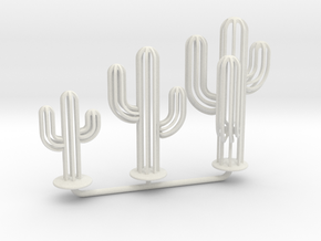Saguaro Cacti Set | Garden Jewelry in White Natural Versatile Plastic