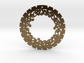 Simple 'Kowhaiwhai' Disc Earring ~ 33mm diameter in Natural Bronze