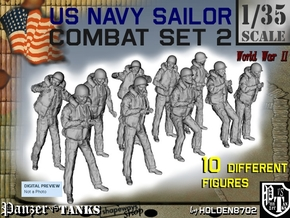 1-35 US Navy Sailors Combat SET 2 in Smooth Fine Detail Plastic
