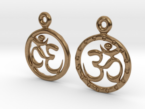 Om EarRings - Pair - Metal in Natural Brass