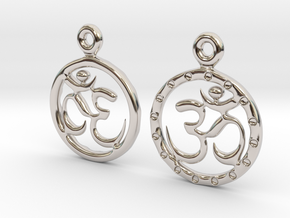 Om EarRings - Pair - Precious Metal in Rhodium Plated Brass