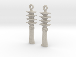 Djed EarRings - Pair - Plastic in Natural Sandstone